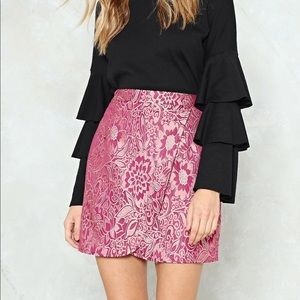 new with tags nasty gal pink floral wrap skirt